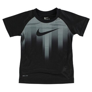 Nike Boys Motion Swoosh Dri Fit T Shirt Black - Black/Grey - 4