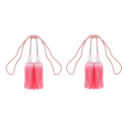 Home Nylon Window Voile Curtain Decor Holdback Tie Back Double Tassel Pink Pair