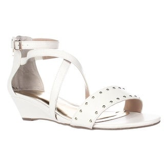 TS35 Pia Ankle Strap Wedge Sandals, White Snake
