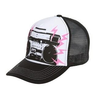 Boombox Mesh Trucker Hat - Black w/ White - Black/White