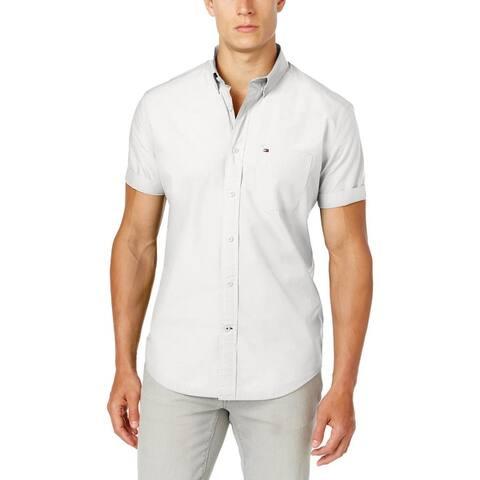 Tommy Hilfiger Mens Big & Tall Maxwell Button-Down Shirt Pocket Short Sleeves