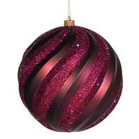 "Red Plum Matte and Glitter Swirl Shatterproof Christmas Ball Ornament 8"" (200mm) - PURPLE"