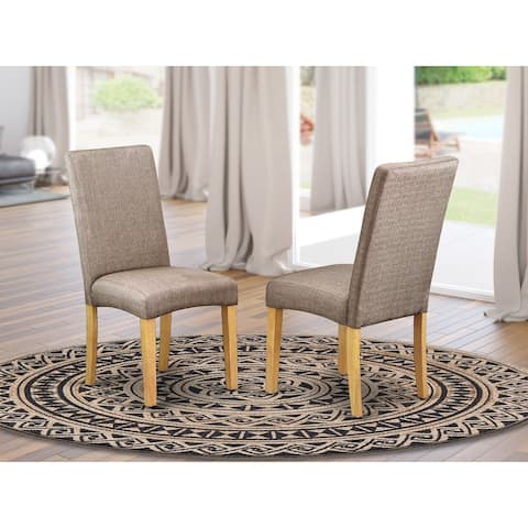 Parson Chair with Oak Finish Leg and Linen fabric- Dark Khaki Finish - DRP4T16