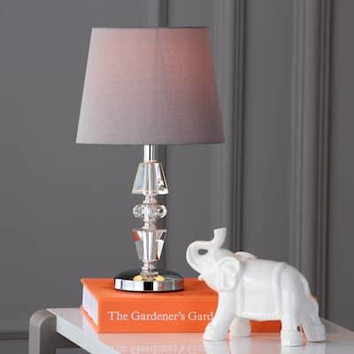 "SAFAVIEH Lighting 15-inch Crescendo Grey Shade Tiered Crystal Table Lamp (Set of 2) - 9""x9""x16"""