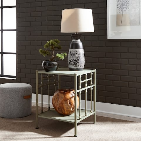 Carbon Loft Cauthen Vintage Series Green Distressed Metal Open Night Stand