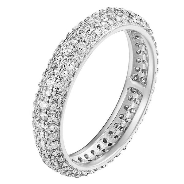Wedding Engagement Band Womens 925 Sterling Silver Prong Set Lab Diamonds