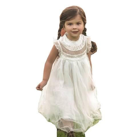 eb6e92b063e Girls White Lace Tulle Smock T-Length Magnolia Flower Girl Dress