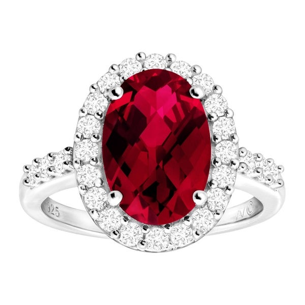 5 1/4 ct Created Ruby & White Sapphire Cocktail Ring in Sterling Silver - Red