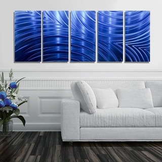 Statements2000 Blue Abstract Modern Metal Wall Art Panels by Jon Allen - Blue Synchronicity