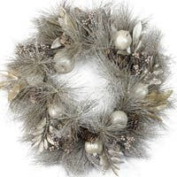 "24"" Champagne Gold Pomegranate, Apple, Pine Cone and Berry Christmas Wreath - Unlit"