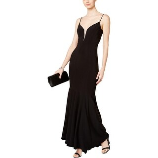Betsy & Adam Womens Petites Evening Dress Jeweled Mesh Inset