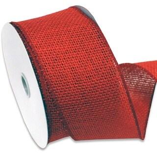 "Burlap Wired Ribbin 2.5""X10yd-Red"