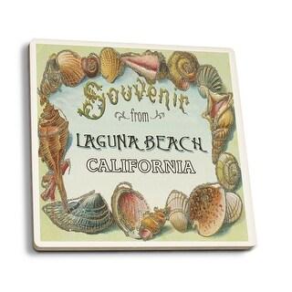 Laguna Beach, CA - Shells Souvenir - LP Artwork (Set of 4 Ceramic Coasters)