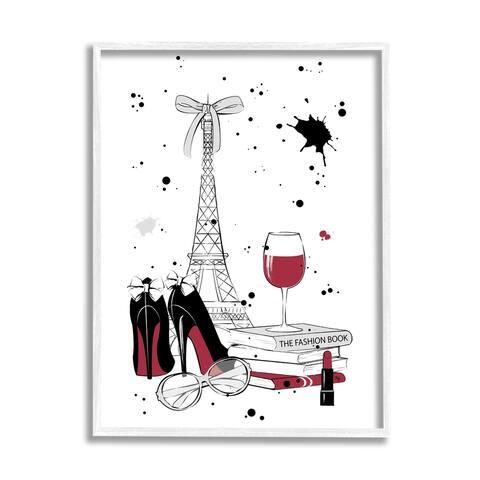 Stupell Industries Glam Fashion Eifel Tower Fashion Books Red Wine Framed Wall Art - Black