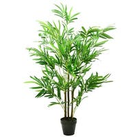 """51.5"""" Potted Two Tone Green and Brown Artificial Bamboo Plant"""