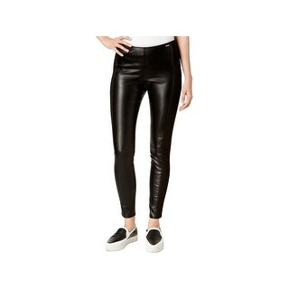 Armani Exchange Womens Skinny Pants Faux Leather Flat Front