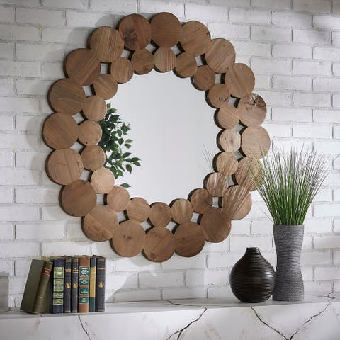 Joshua Natural Finish Reclaimed Wood Round Wall Mirror by iNSPIRE Q Artisan