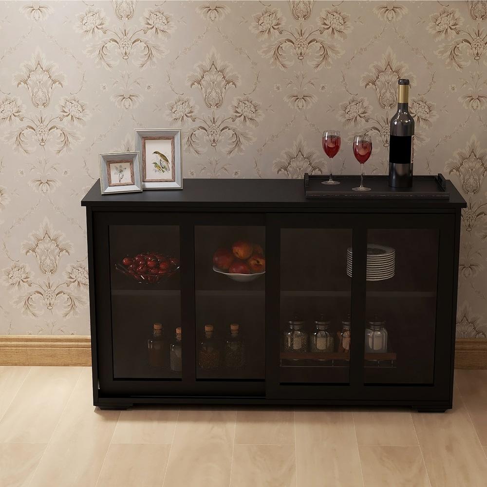 Overstock Black Kitchen Storage Stand Cupboard With Glass Door (Black)