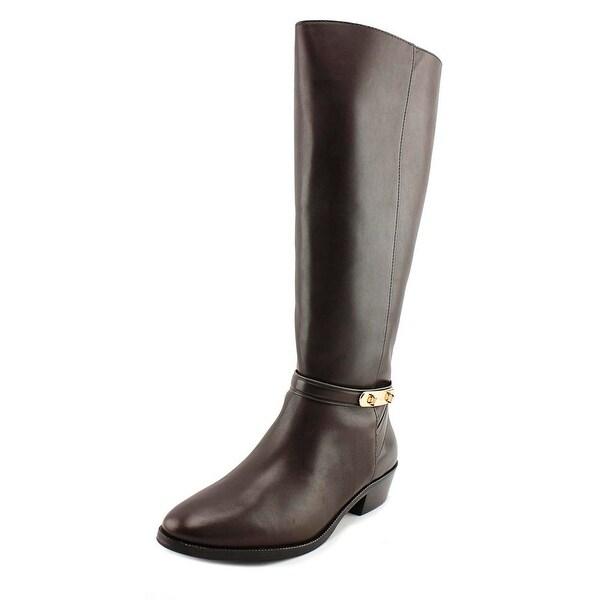 Coach Caroline Wide Calf Women Round Toe Leather Brown Knee High Boot