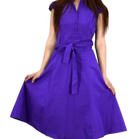 100% Cotton Button Up Vintage A-Line Swing Dress Fabric Belt
