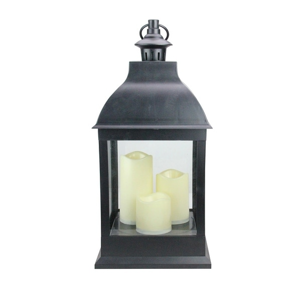"""20"""" Large Black Candle Lantern with 3 Flameless LED Candles - N/A"""