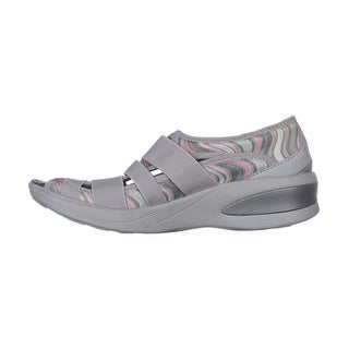 BZees Womens frill Fabric Low Top Slip On Fashion Sneakers - gray pastel print