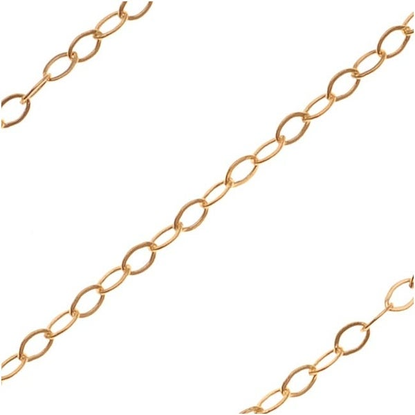 Gold Filled Delicate Flat Cable Chain 1.5mm Bulk By The Foot