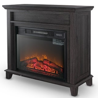 "BELLEZE 23"" Electric Mantel Fireplace Heater with Adjustable Flame and Remote Control, Gray"