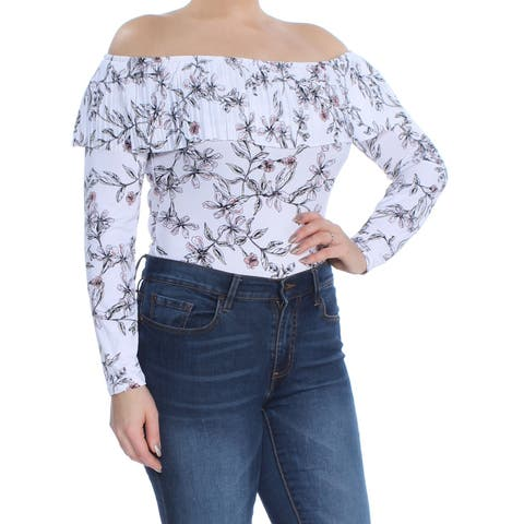 GUESS Womens Pink Ruffled Floral Long Sleeve Off Shoulder Top Size: L