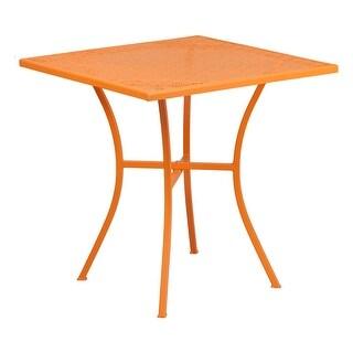 Offex 28'' Square Orange Indoor-Outdoor Steel Patio Table