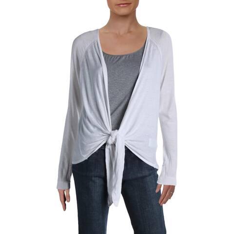 Lauren Ralph Lauren Womens Cardigan Sweater Open-Front Eyelet - White