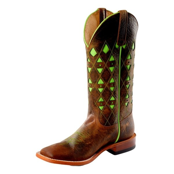 Horse Power Western Boots Mens Square Inlay Roper Toast Bison