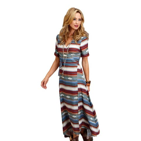 Stetson Western Dress Womens S/S Maxi Black Red
