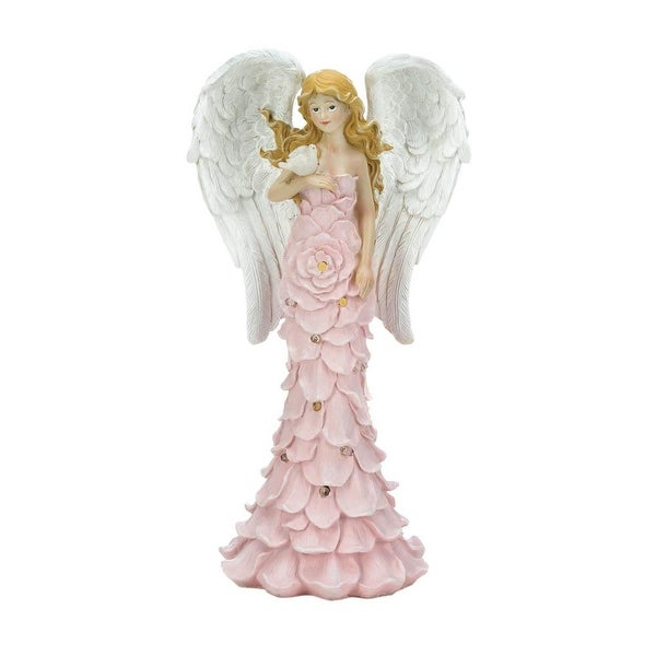 Home Solar Powered Pink Rose Angel Statue