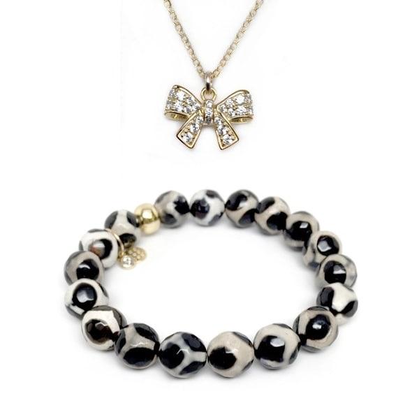 "Black & White Agate 7"" Bracelet & CZ Bow Gold Charm Necklace Set"