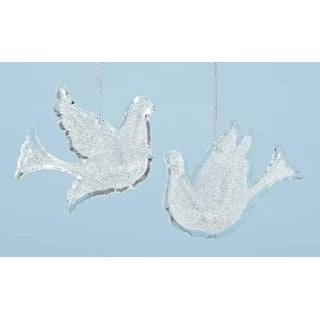 "Link to Pack of 12 Winter Ice Silver Glittered Bird Dove Christmas Ornaments 4"" Similar Items in Christmas Decorations"