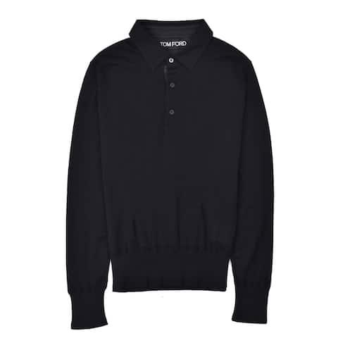 Tom Ford Mens Cotton Black Long Sleeve Polo Shirt - S