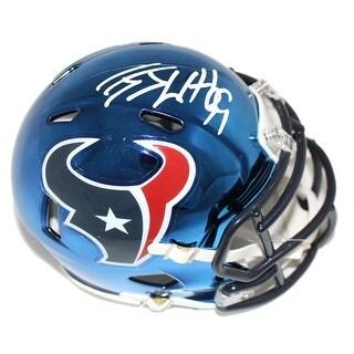 JJ Watt Autographed Houston Texans Chrome Riddell Mini Helmet JSA