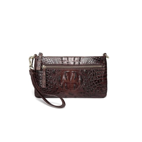 Daci Croc Embossed Leather Crossbody/Clutch