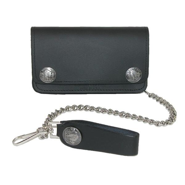 Iris Tyler Men's Leather and Nickel Snaps Chain Trucker Wallet, Black - One size