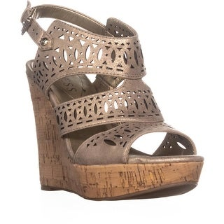 Guess Vannora Wedge Ankle Strap Wedge Heels, Light Beige