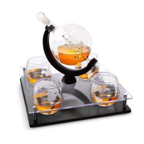Bezrat 5 pc Globe Whiskey Decanter Set With Whisky Glasses