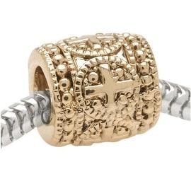 22K Gold Plated Large Hole Bead Greek Cross - European Style (1)