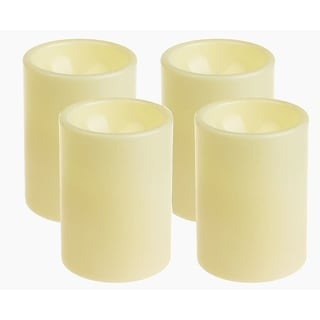 "Pack 4 Flameless Outdoor LED Candle Set, Battery Operated Plastic Pillar Flickering Candle Light with Timer, 3 x 4"", Ivory"