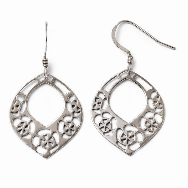 Sterling Silver Polished Shepherd Hook Dangle Earrings