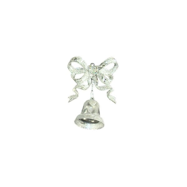 """Pack of 2 Clear and Silver Glitter Bow with Bell Christmas Ornaments 5"""""""