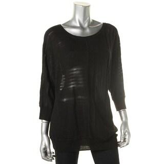 Calvin Klein Womens Shadow Stripe Dolman Sleeves Sweater