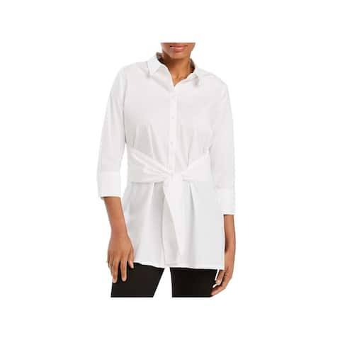 Foxcroft Womens Michaela Button-Down Top Knot-Front Tunic