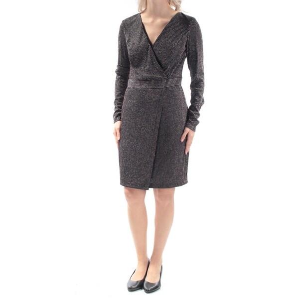 Shop Guess Womens Black Glitter Long Sleeve V Neck Knee Length