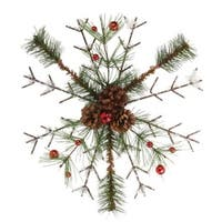 "12"" Frosted Pine, Berries and Pine Cone Snowflake Christmas Tree Ornament"